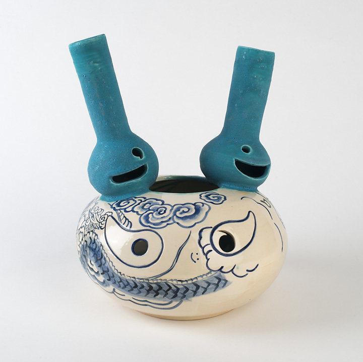 Twin Blue Smiley Vase